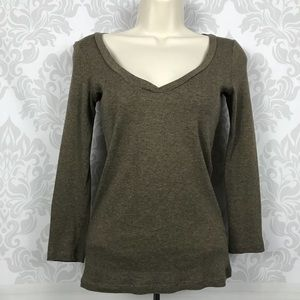 Theory Deep Olive Green Long Sleeve Top Size S